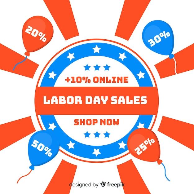 Platte arbeidsdag verkoop achtergrond Gratis Vector