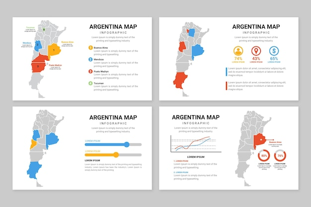 Platte argentinië kaart infographic Gratis Vector