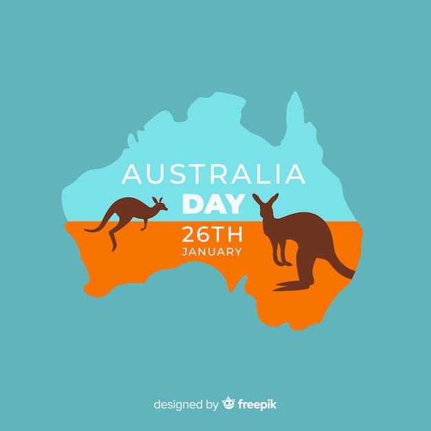Platte australië dag achtergrond Gratis Vector