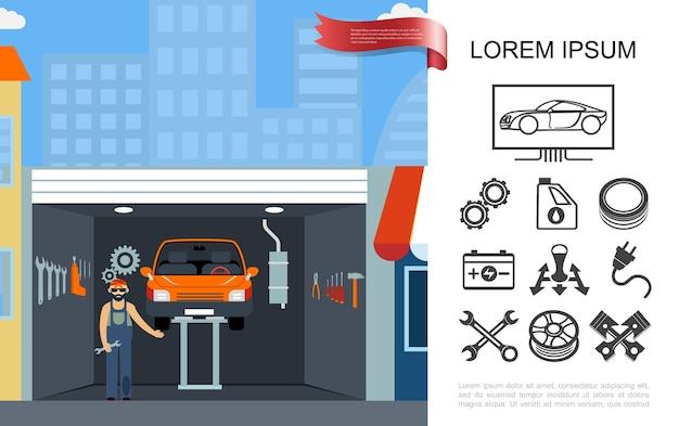 Platte auto onderhoud winkelconcept Gratis Vector