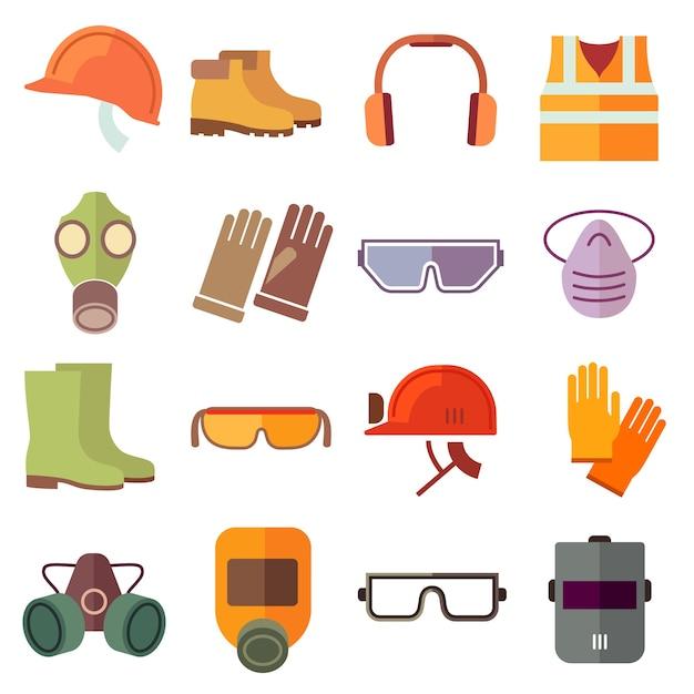 Platte baan veiligheidsuitrusting vector iconen set. veiligheidspictogram, helmuitrusting, industriële baan, veiligheidshoofddeksel en illustratie van de beschermingslaars Gratis Vector