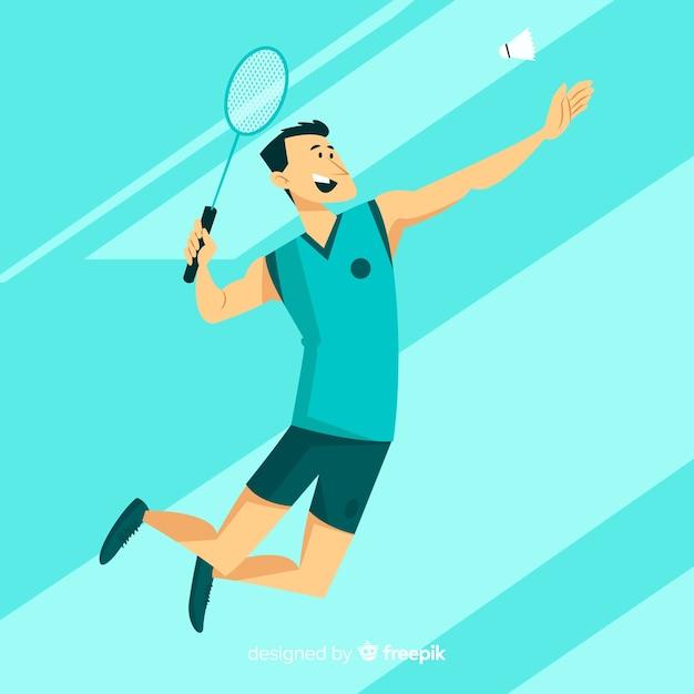 Platte badmintonspeler met racket Gratis Vector