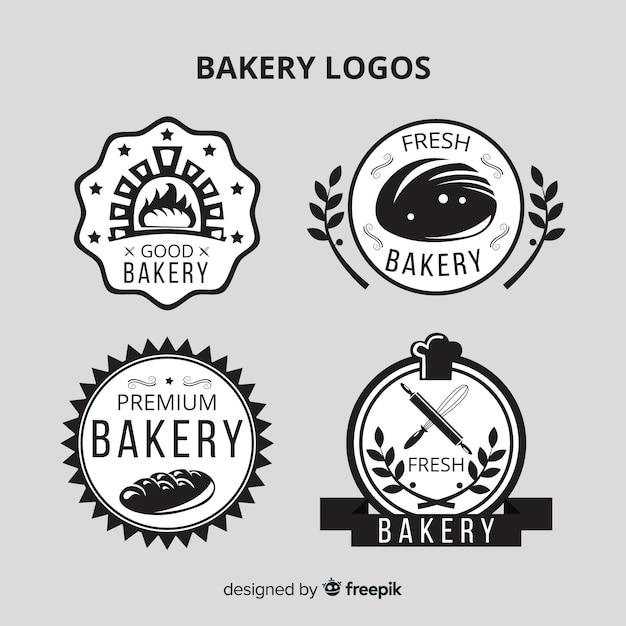 Platte bakkerijlogo's Gratis Vector