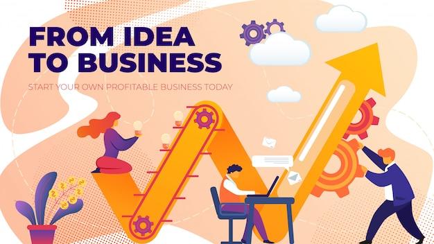 Platte banner van idee tot zakelijk ondernemerschap Premium Vector