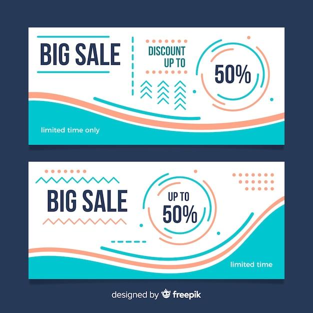 Platte banners Gratis Vector