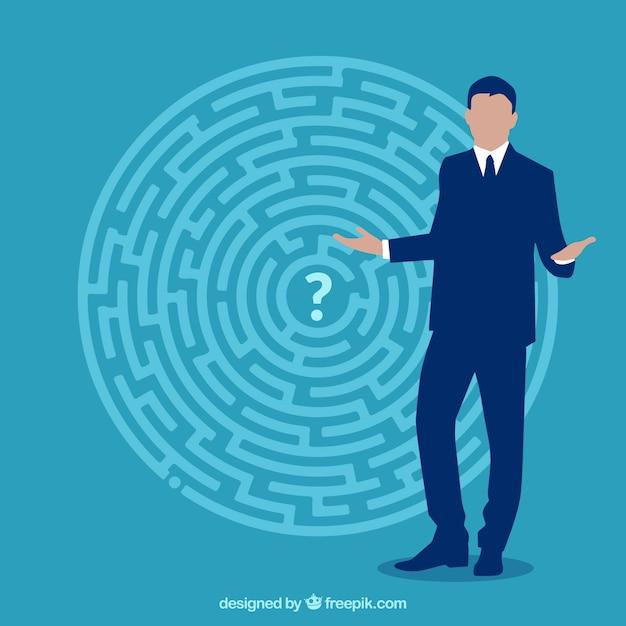 Platte bedrijfsconcept met labyrint Gratis Vector