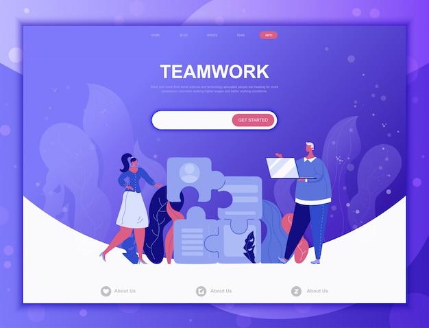 Platte bedrijfsconcept teamwork, bestemmingspagina websjabloon Premium Vector