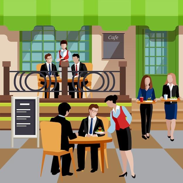 Platte bedrijfslunch mensen concept Gratis Vector