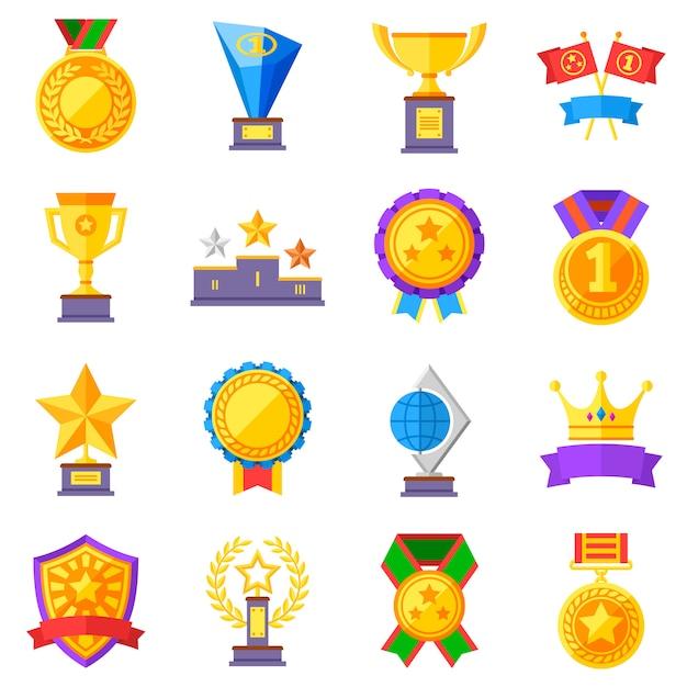 Platte beloningen vector iconen. gouden bekers, medailles en kronenpictogrammen Premium Vector