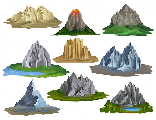 Platte berg en meer set illustratie geïsoleerd Premium Vector