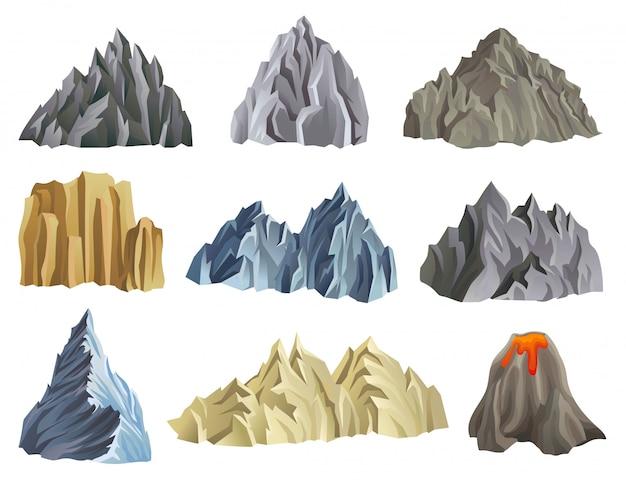 Platte berg instellen illustratie geïsoleerd Premium Vector