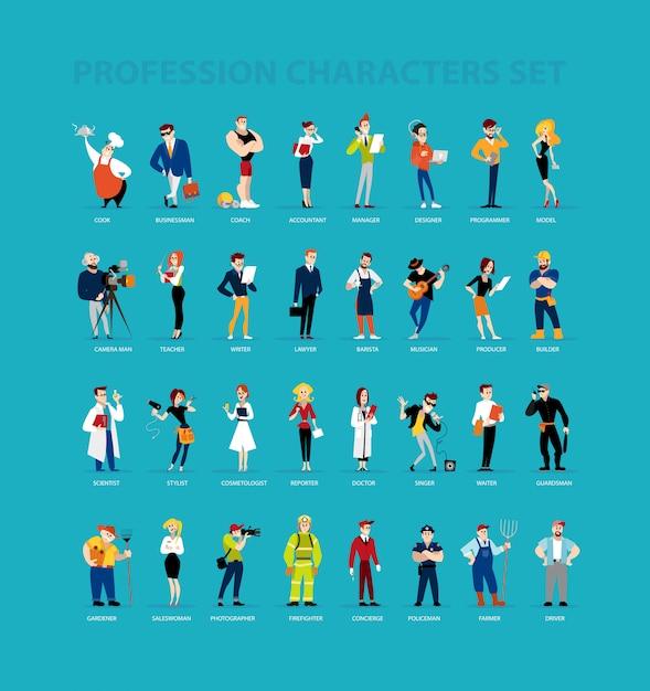 Platte beroepskarakters. menselijk pictogram. beroep icoon. Premium Vector