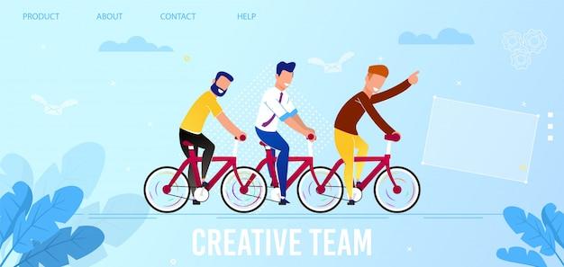Platte bestemmingspagina die de service voor creatief team promoot Premium Vector