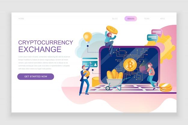 Platte bestemmingspagina sjabloon van cryptocurrency exchange Premium Vector