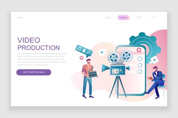 Platte bestemmingspagina sjabloon van videoproductie Premium Vector
