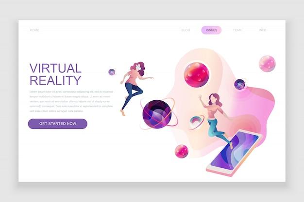 Platte bestemmingspagina sjabloon van virtual augmented reality Premium Vector