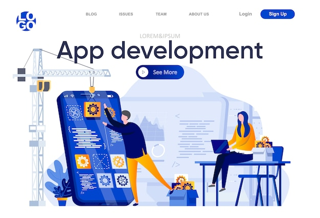 Platte bestemmingspagina voor app-ontwikkeling. team van ontwikkelaars die illustratie van mobiele applicaties maken. full stack ontwikkeling, software engineering webpagina samenstelling met personages. Premium Vector