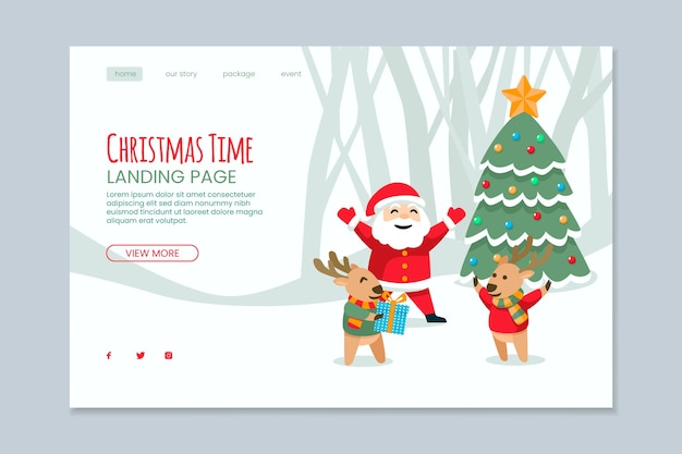 Platte bestemmingspagina voor kerstmis Gratis Vector