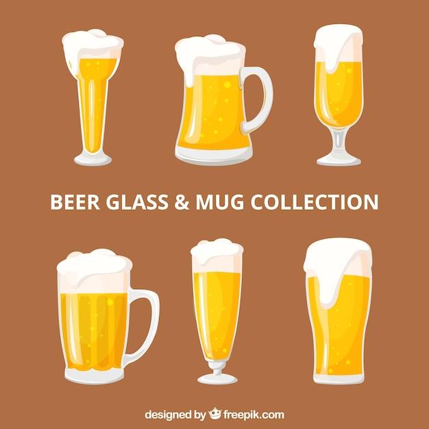 Platte bierfles collectie Gratis Vector