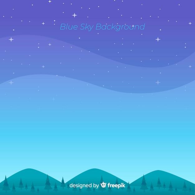 Platte blauwe hemelachtergrond Gratis Vector