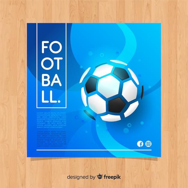 Platte blauwe voetbal sjabloon voor spandoek Gratis Vector
