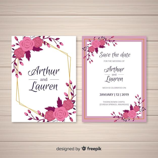 Platte bloemen bruiloft kaartsjabloon Gratis Vector