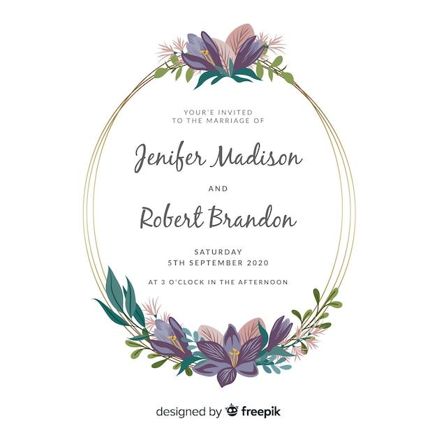 Platte bloemen frame bruiloft uitnodiging sjabloon Gratis Vector