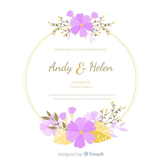 Platte bloemen frame bruiloft uitnodiging Gratis Vector