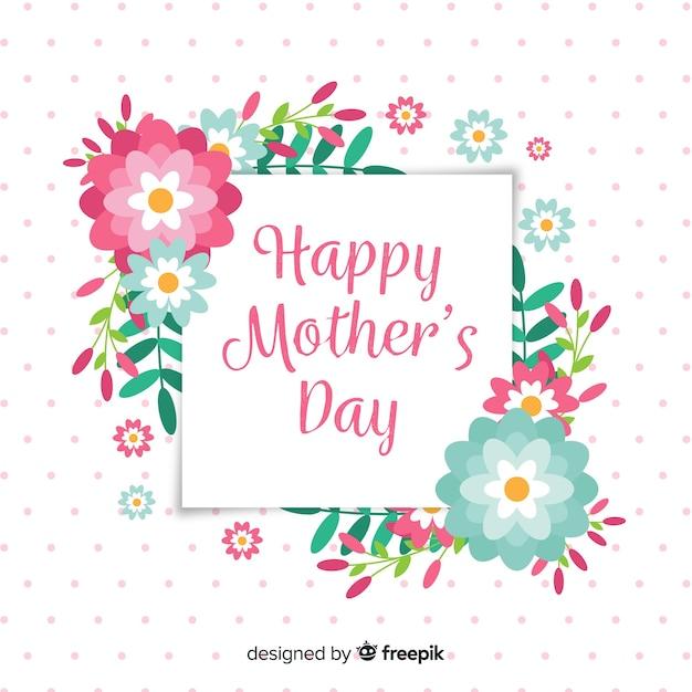 Platte bloemen moederdag achtergrond Gratis Vector
