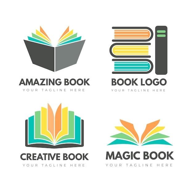 Platte boek logo templates-collectie Gratis Vector