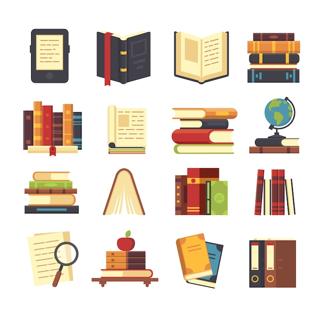 Platte boekpictogrammen instellen Premium Vector