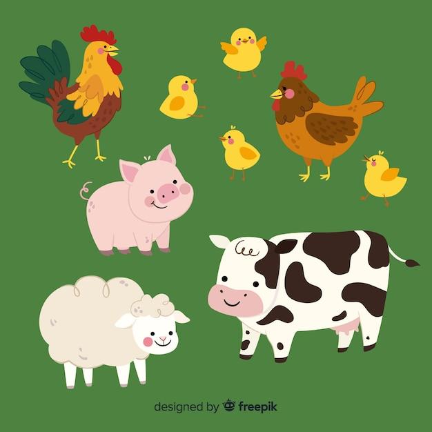 Platte boerderij dieren collectie Gratis Vector