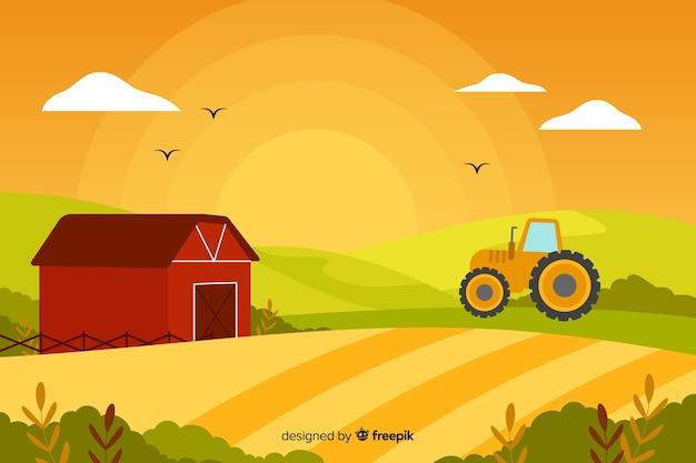 Platte boerderij landschap-achtergrond Gratis Vector