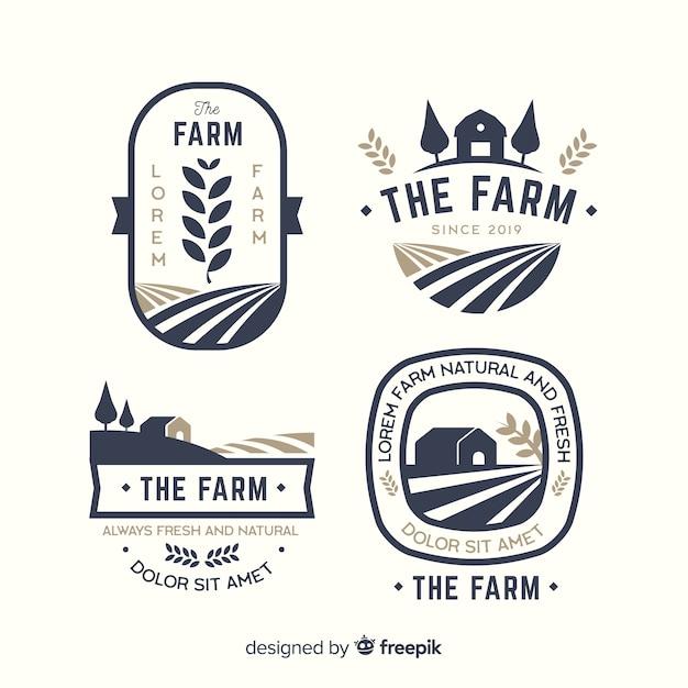 Platte boerderij logo sjabloonverzameling Premium Vector