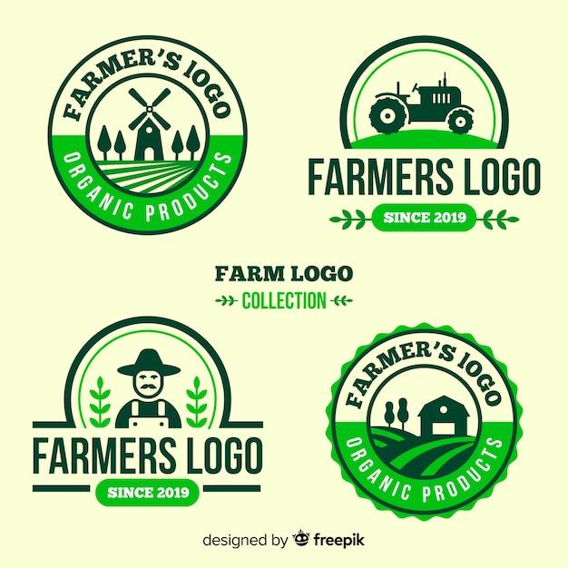 Platte boerderij logo sjabloonverzameling Gratis Vector