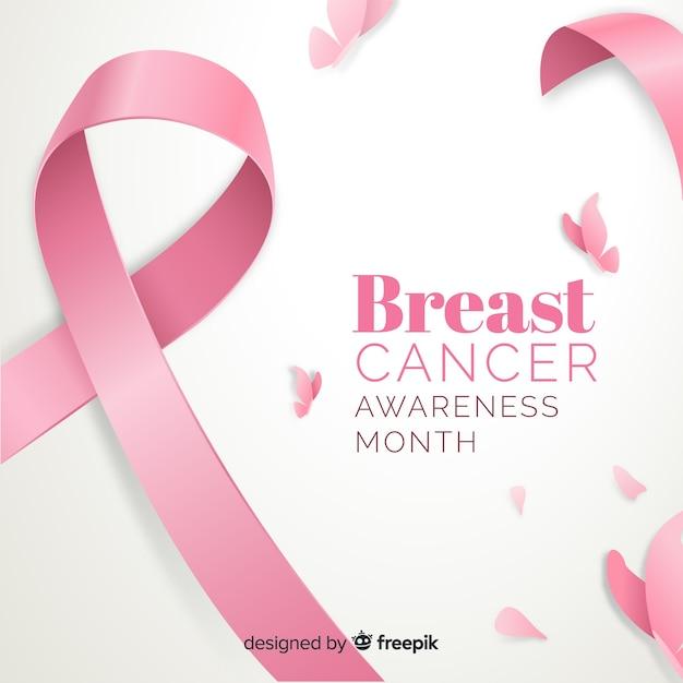 Platte borstkanker bewustzijn met lint Gratis Vector