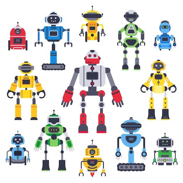 Platte bots en robots. robotrobot mascotte, humanoïde robot en schattige chatbot assistent vector platte tekens instellen Premium Vector