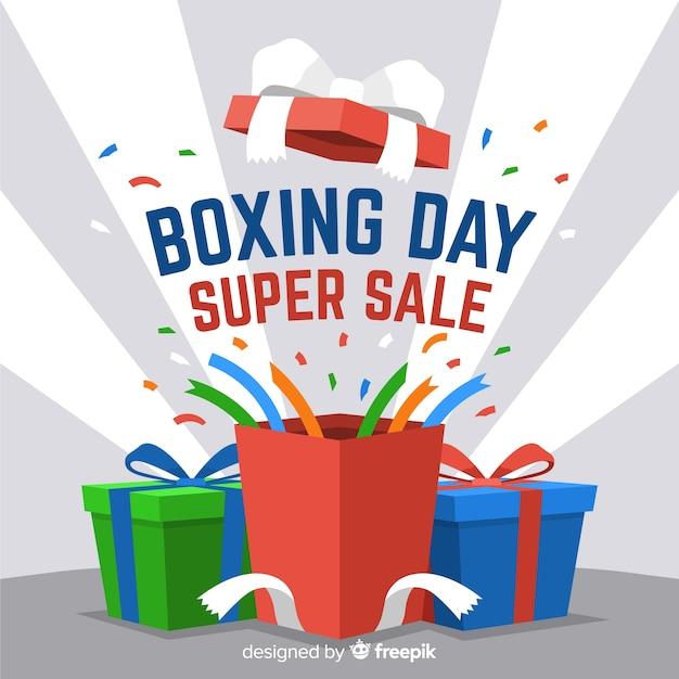 Platte boxing dag verkoop achtergrond Gratis Vector