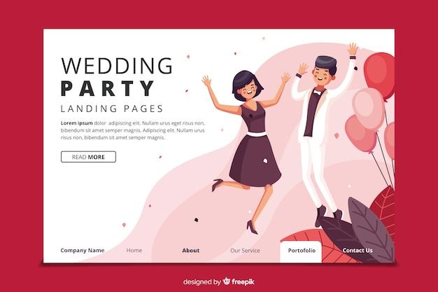 Platte bruiloft bestemmingspagina sjabloon Gratis Vector
