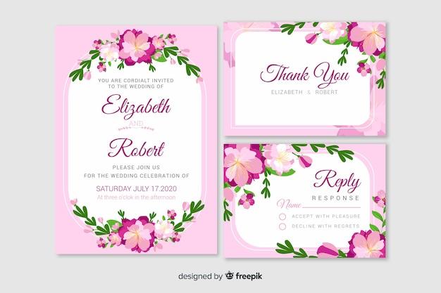 Platte bruiloft briefpapier sjabloon collectie Gratis Vector