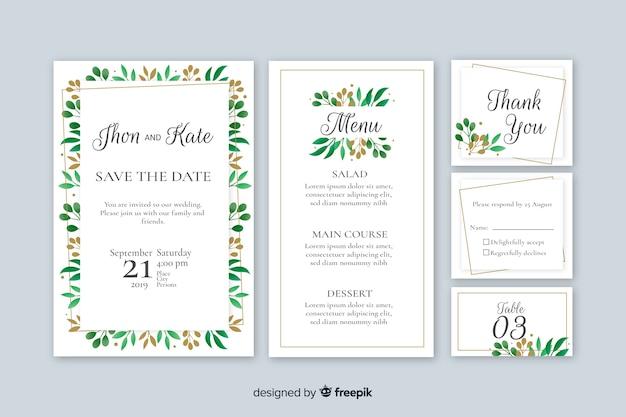 Platte bruiloft briefpapier sjabloon Gratis Vector