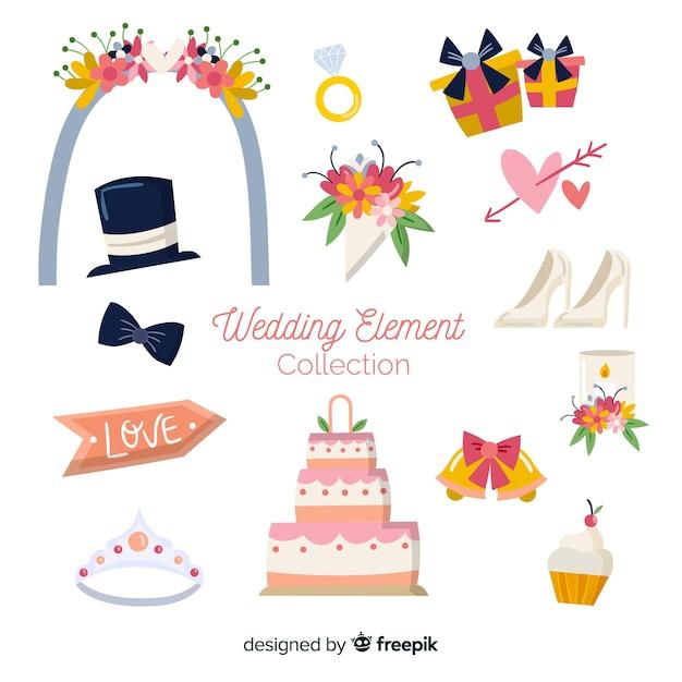 Platte bruiloft element collectie Gratis Vector