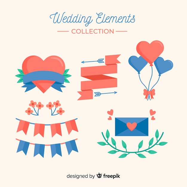 Platte bruiloft element collectie Gratis Vector