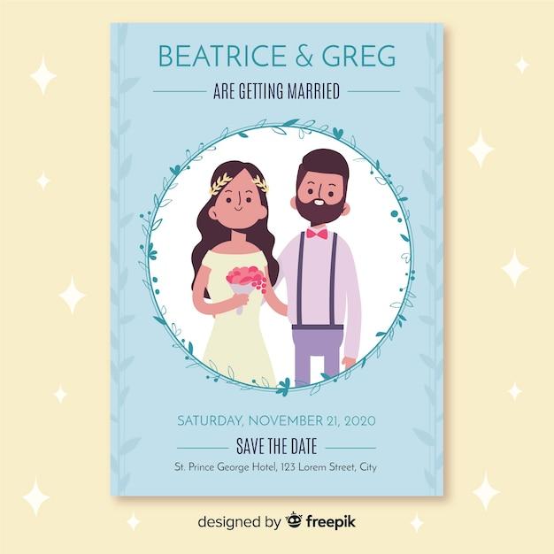 Platte bruiloft uitnodigingssjabloon Gratis Vector