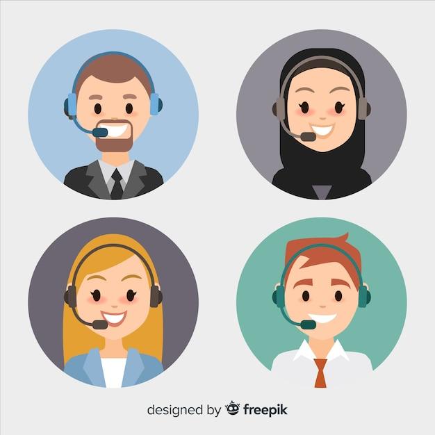 Platte call center avatar set Gratis Vector