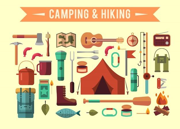 Platte camping-set met wandeluitrusting en buiten koken pictogrammen Gratis Vector