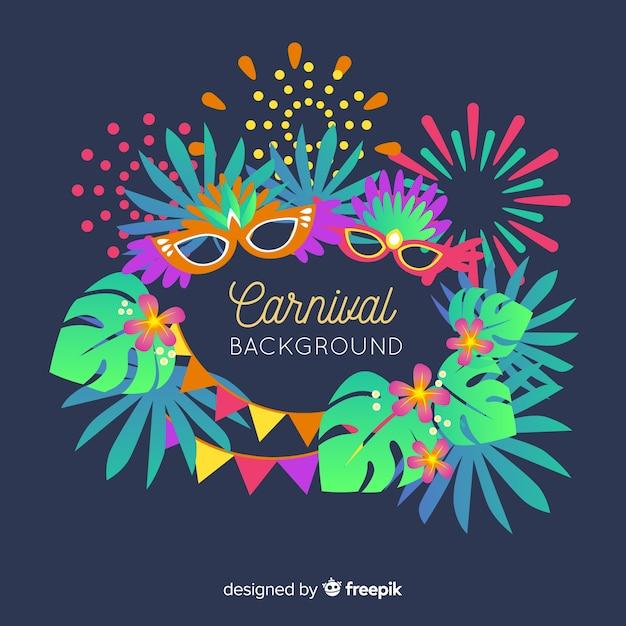 Platte carnaval achtergrond Gratis Vector