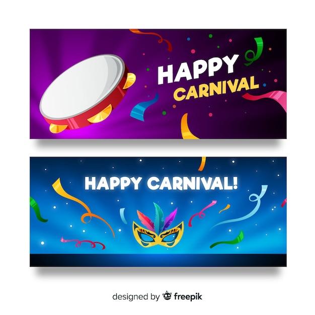 Platte carnaval banner Gratis Vector