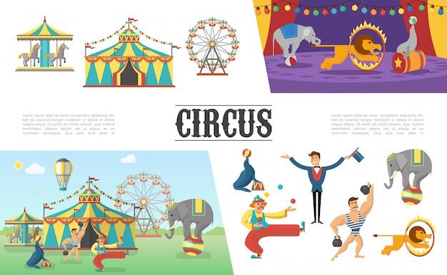 Platte carnaval circuselementen met tentcarrousels strongman clown jongleren met ballen illusionist olifanten leeuwenrob uitvoeren van verschillende trucs Gratis Vector
