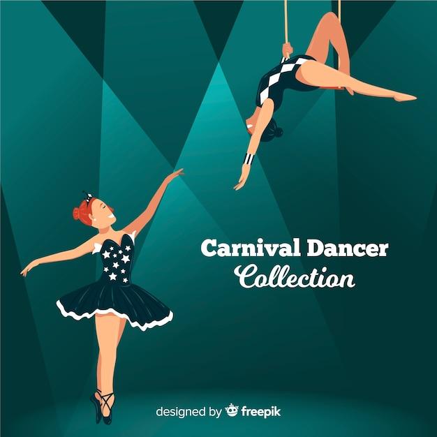 Platte carnaval danser collectie Gratis Vector